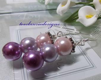 Set of 3 Purple Bridesmaid Earrings Wedding Jewelry Dangle Earrings Purple Wedding Earrings Bridal Earrings Gift for Her