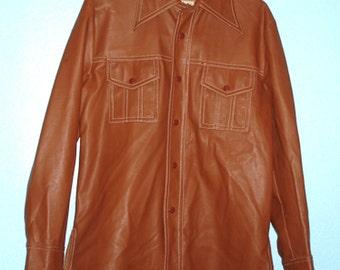 """Vintage 1970s """"Kingsfield"""" Men's Saddle-color Vinyl Jacket"""