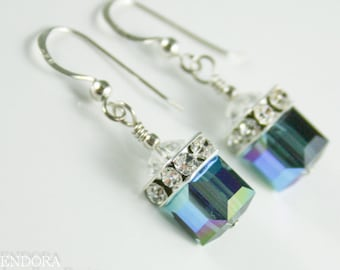 Blue crystal earrings,Swarovski cube earrings,Silver Cube earring,Montana Blue earrings,crystal cube earring,Blue bridesmaid earrings