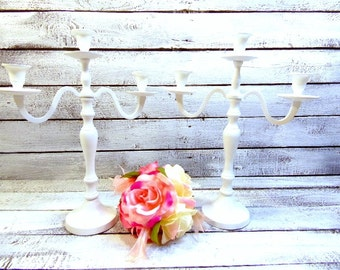 Two White Wedding Candle Candelabra 3 arm Shabby Candle Holder