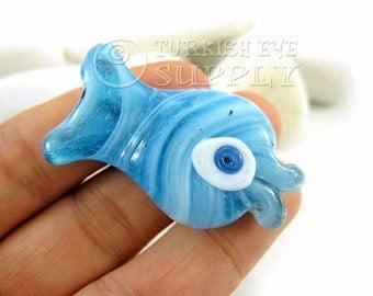 Evil Eye Fish Pendant, Turkish Evil Eye Glass Fish, Artisan Handmade Evil Eye Fish, Bohemian Jewelry, Turkish Jewelry