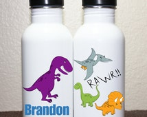 Personalized Stainless Steel Water Bottle or Sports Bottle - Dinosaurs – Made to order