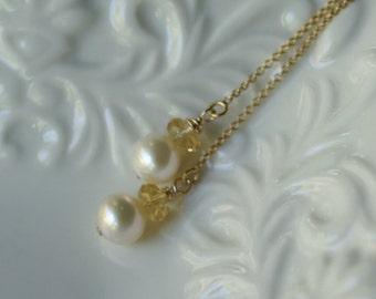 Pearl, citrine earrings, pearl ear threads, threader earrings, gold fill ear threads, jewelry gift, bridal jewelry, pearl drop earrings