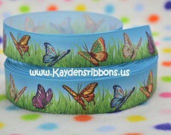 3 yards Butterflies in Grass - 1  inch  - Printed Grosgrain Ribbon