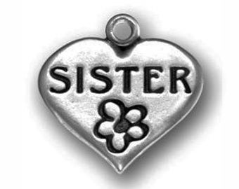 5 Silver Heart Sister Charm 18x18mm by TIJC SP0607