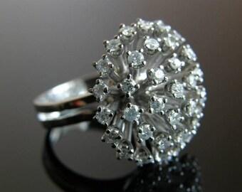 Diamonds Cocktail Ring - 14K White Gold Diamonds Ring - Engagement Ring KK109