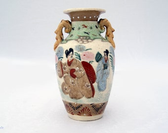 Vintage Handpainted Japanese Pottery Vase