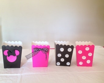 Minnie Mouse Treat Containers/Decorations/Minnie Mouse Party, Minnie Mouse Popcorn Boxes/ Minnie Mouse  Thank Yous
