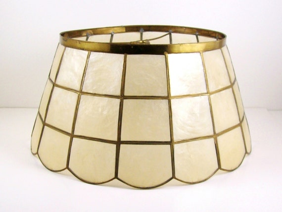 Shell Lamp Shade: Vintage Lamp Shade Brass & Metal Mother of Pearl Shell Window Pane Design  14 x 7,Lighting