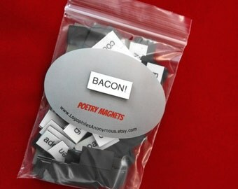 Bacon Poetry Magnet Set - Refrigerator Poetry Word Magnets