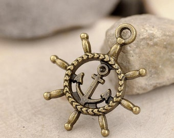20pc antique bronze rudder anchor charms pendant 27mmx24mm