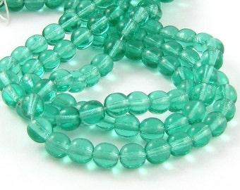 Cool Mint Green 6mm Smooth Round Czech Glass Beads #1723