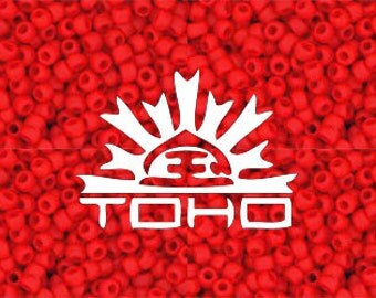 Frosted Cherry Red Toho #45AF Japanese Glass Size 11 Seed Beads 11/0 +/- 20g Tube 11/0 #z260