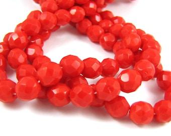 Opaque Light Red 8mm Facet Fire Polished Czech Glass Beads 20pc #1878