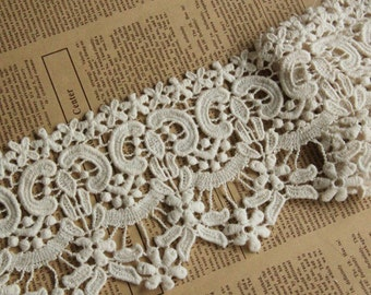 Antique Lace Trim, Vintage Trim Lace, Cotton Floral Lace, Beige Cotton Lace Trim