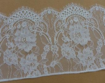 "GORGEOUS Chantilly Lace, White Floral Lace Trim, Wedding Veils edge Lace, 10.23"" wide 3 Yards"