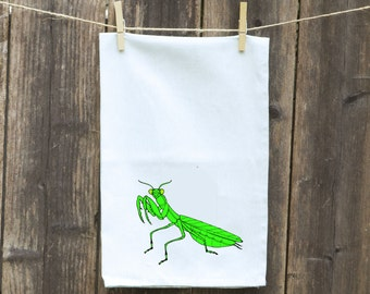 Praying Mantis Kitchen Towel, Praying Mantis Flour Sack Towel-Insect Towel, Towel with Bugs,Dishcloth,Towel with Praying Mantis
