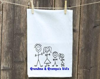 Stick Figure Family, Kids Stick Figure Flour Sack Towel-Tea-Dish-Hand-Kitchen Towel Funny, Grandma & Grandpa's Kids's