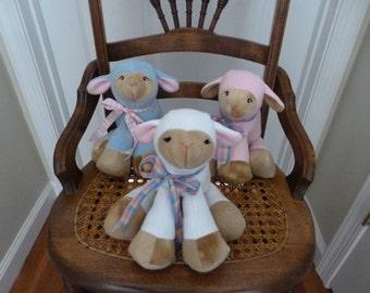 Lamkins Baby Lamb Stuffed Animal-Pink Lamb-Blue Lamb-Baby Sheep Stuffed Animal