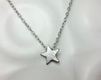 Silver star necklace / matte silver star pendant / Christmas gift / Sterling silver necklace / simple modern necklace / Silver pendant /