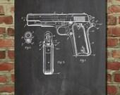 Colt 1911 Semi-Automatic Pistol Patent Poster, Colt 45 Pistol, USAF, Gun Enthusiast, PP76
