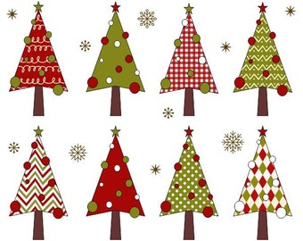 Christmas Trees Clip Art, Xmas Trees Clipart, Christmas Digital Clip Art - YDC083