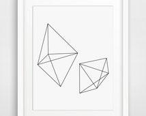 Geometric Print Art, Black and White Print, Abstract Print, Geometric Print, Geometric Artwork, Geometric Black and White Wall Print