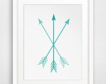 Arrow Art, Turquoise Arrow Print, Teal Arrows, Turquoise Arrows, Turquoise Arrow Print, Teal Arrow Print, Turquoise Art, Teal Art