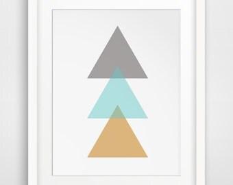 Triangle Print Art, Mustard Yellow, Turquoise Blue, Yellow Geometric Print, Wall Print, Blue Wall Art, Yellow Wall Art, Geometric Wall Print