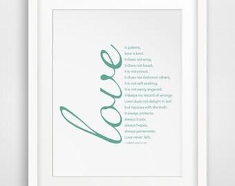 Love is Patient Love is Kind, Bible Verse Print, 1 Corinthians 13, Christian Print, Mint Bible Print, Bible Art, Scripture, Mint Green