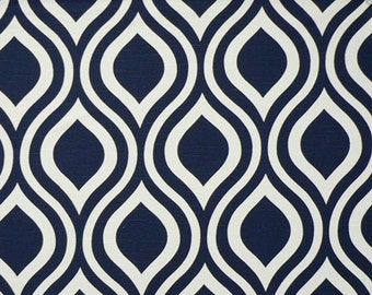SALE - Premier Prints Emily Navy Blue - Navy Modern Geometric Ogee Fabric by the 1/2 yard