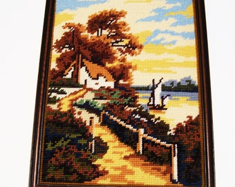 Country Cottage by the Lake Completed Needlepoint Picture Framed 10 x 13 Inches