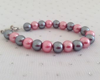 Pink and Gray Pearl Bracelet, Pink and Gray Wedding Jewelry, Blush Pink Beaded Jewelry, Bridesmaid Jewelry Gift, Pearl Bridal Bracelet