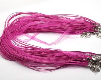 """20 pcs Fuchsia  Organza Silk Ribbon Cord Necklace 18"""" plus 2"""" extension - Silk Ribbon cord necklaces"""