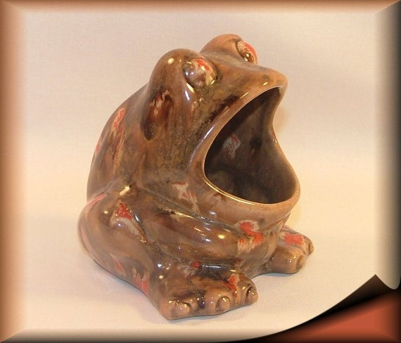 Frog scrubby sponge holder brown with red by leviladyceramics - Frog sponge holder kitchen sink ...