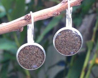 Maui sand earrings in silver bezel