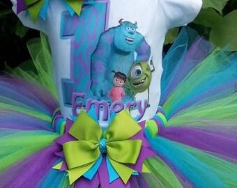Handmade Monster Inc inspired tutu set, Monster Inc tutu, turquoise, purple and lime green, tutu skirt, . Girls tutu, birthday tutu