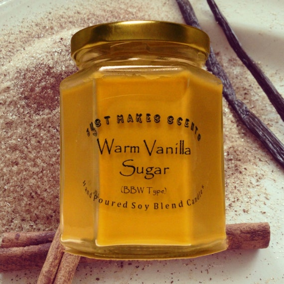 Warm Vanilla Sugar Scented Blended Soy Candle - Bath & Body Works Type ...