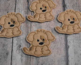 Tan Puppy Dog felties, feltie, Machine embroidered, felt applique, felt embellishment, hairbow center