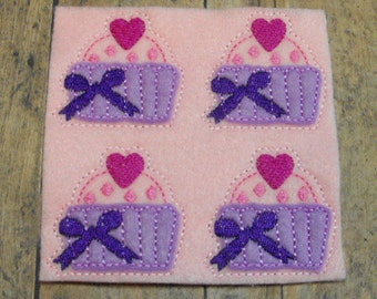 Valentine Sweetheart Cupcake felties, feltie , Machine Embroidered, Felt Applique , Felt Embellishment, Hair bow Center, felt planner clip