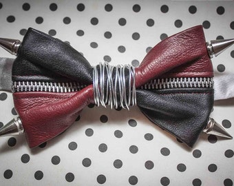 Black & Red Leather Bow Tie