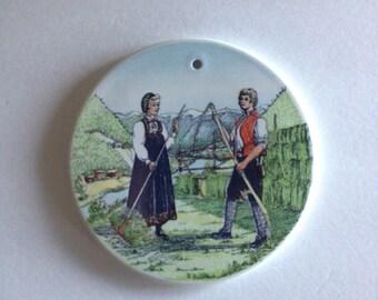 Norway Stavangerflint Plate - Farming Couple from Hallingdal Norway in Alpine Garden / Folk Costume