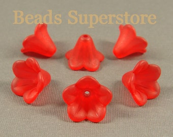 14 mm x 10 mm Red Lucite Flower Bead - 15 pcs
