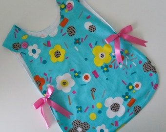 Bapron, Baby Girl Apron blue, infant babies bib smock pinafore apron, lined cotton bapron, pink ribbon bow & button bapron, baby shower gift