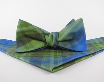 Silk Men's Bow Tie and pocket square set in  Green and blue checks  / LIMITED EDITION / Groomsmen / Ringbearer