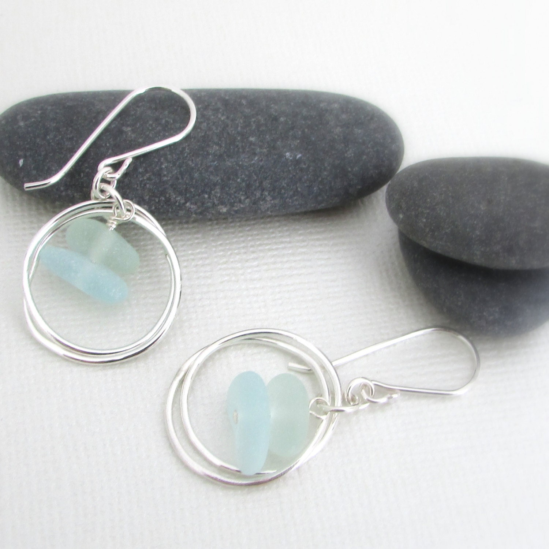 sea glass earrings sea glass jewelry maine jewelry beach