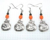 ON SALE Halloween Pumpkin Charm Earrings