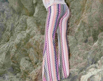 CHEVRON AZTEC TRIBAL  70's retro  bohemian chic dance beach resort yoga festival burning man gypsy fashion flare bell bottoms