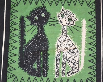 Swedish handprinted fabric cats design Maud Fredin Fredholm scandinavian 60s