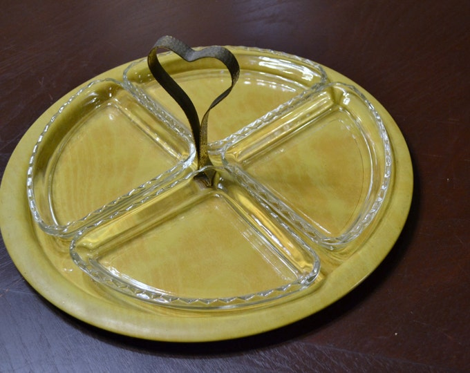Vintage Appetizer Tray Metal Glass Yellow Snack Tray Party Platter PanchosPorch